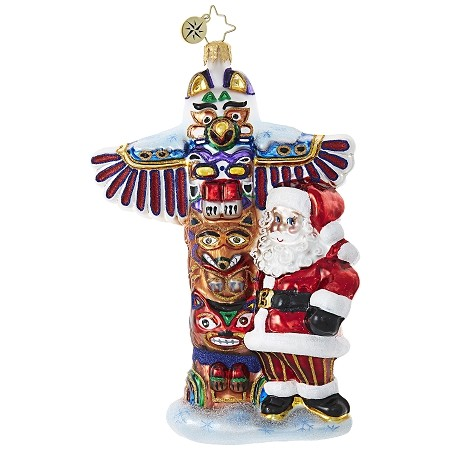 RADKO 1019024 TOTEM POLE TENDENCIES - SANTA AND TOTEM POLE ORNAMENT - NEW 2017 (17-15)