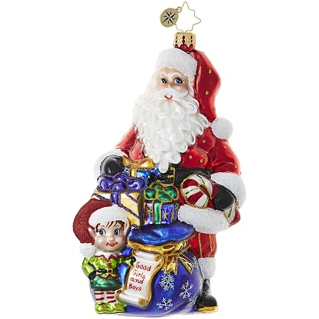 RADKO 1019026 KNEE HIGH HELPER - SANTA AND ELF WITH BAG OF GIFTS ORNAMENT - NEW 2017 (17-15)
