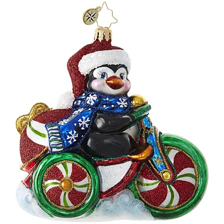 RADKO 1019029 COOL TRICYCLE! - PENGUIN ON CANDY TRICYCLE ORNAMENT - NEW 2017 (17-15)