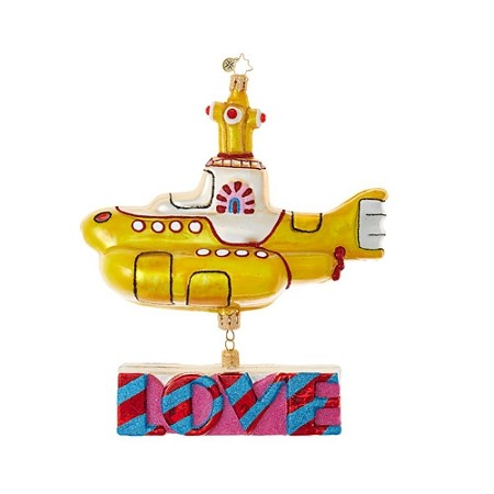 RADKO 1019041 YELLOW SUBMARINE WITH LOVE - BEATLES COLLECTION - YELLOW SUBMARINE WITH LOVE DANGLE ORNAMENT - NEW 2017 (17-5)
