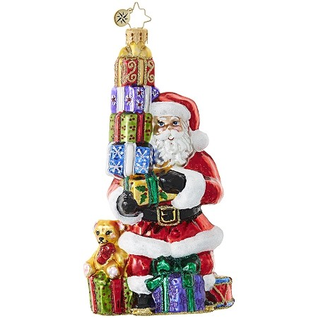 RADKO 1019054 BALANCING ACT - SANTA WITH STACK OF PRESENTS ORNAMENT - NEW 2017 (17-16)