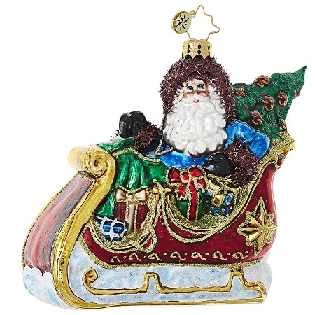 RADKO 1019074 SLIDING INTO CHRISTMAS - SANTA IN SLEIGH WITH TREE AND GIFTS ORNAMENT - NEW 2017 (17-16)