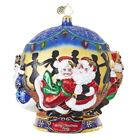 RADKO 1019083 THE PARTY IS IN FULL SWING! - KRINGLE'S CHRISTMAS MINGLE - ALL THE GUESTS ARE DANCING BALL ORNAMENT - DOES NOT FIT IN A RADKO GIFT BOX, COMES IN WHITE GIFT BOX - NEW 2017 (17-1)