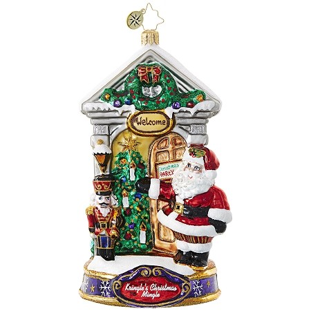 RADKO 1019084 WELCOME! - KRINGLE'S CHRISTMAS MINGLE - WELCOME TO THE PARTY ORNAMENT - NEW 2017 (17-1)