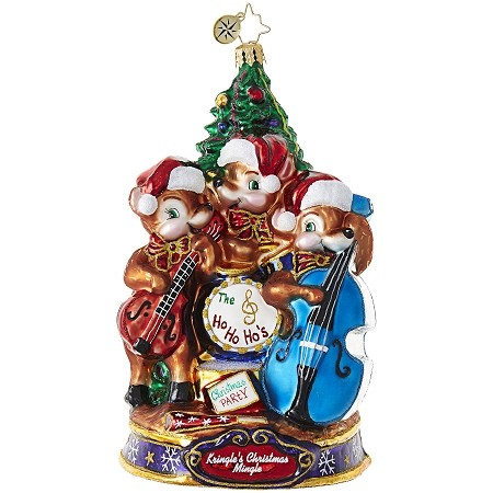 RADKO 1019085 PLAY OUR FAVORITE SONG! - KRINGLE'S CHRISTMAS MINGLE - THE REINDEER BAND PLAY AT THE PARTY ORNAMENT - NEW 2017 (17-1)
