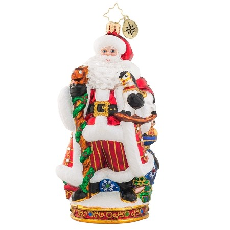 RADKO 1019098 IT'S CHRISTMAS TIME - DESIGNER'S SIGNING EVENT ORNAMENT - JEWELED SANTA ORNAMENT - SIGNED BY MARIO TARE & JOSEPH WALDEN - NEW 2017 (17-1)