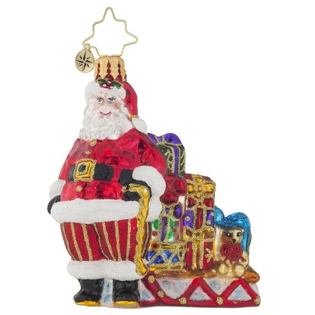RADKO 1019121 READY TO GO GEM - SANTA AND SLEIGH WITH GIFTS  ORNAMENT - NEW 2017 (25-1)