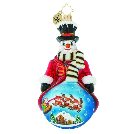 RADKO 1019151 A SHELTER IN THE STORM - SNOWMAN WITH PAINTED SCENE ORNAMENT - NEW 2018 (68-1)