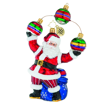 RADKO 1019165 JOLLY JUGGLER - SANTA JUGGLING ORNAMENTS ORNAMENT - NEW 2018 (68-1)