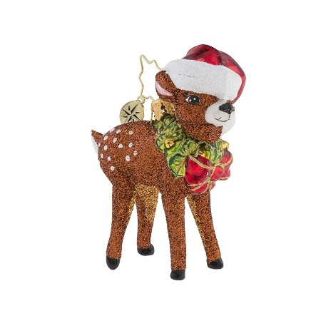 RADKO 1019169 OH, DEER ME! GEM - DEER WITH WREATH AND STOCKING CAP ORNAMENT - NEW 2018 (26-1)