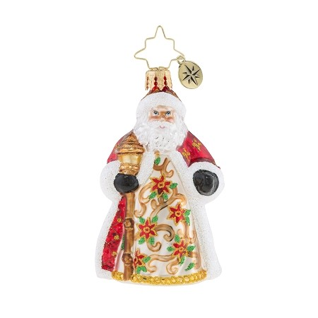 RADKO 1019172 POINSETTIA PASSION GEM - SANTA WITH PAINTED TREE ON BACK ORNAMENT - NEW 2018 (26-1)