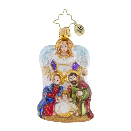 RADKO 1019177 ANGEL WE HAVE HEARD GEM - ANGEL WITH JOSEPH, MARY AND JESUS ORNAMENT - NEW 2018 (26-2)