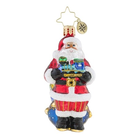 RADKO 1019184 CHOO CHOO SANTA GEM - SANTA HOLDING LOCOMOTIVE ORNAMENT - NEW 2018 (26-3)