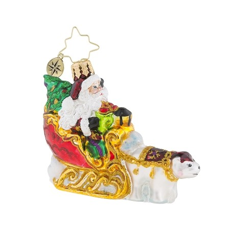RADKO 1019185 POLAR BEAR RUN GEM - SANTA RIDING IN SLEIGH PULLED BY POLAR BEAR ORNAMENT - NEW 2018 (26-3)