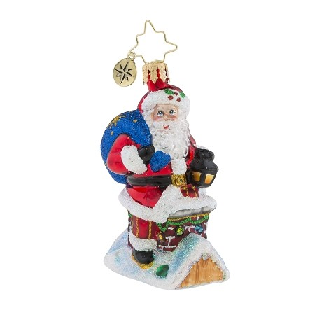 RADKO 1019189 CHIMNEY CLIMBER SANTA GEM - SANTA ON ROOF ORNAMENT - NEW 2018 (26-4)
