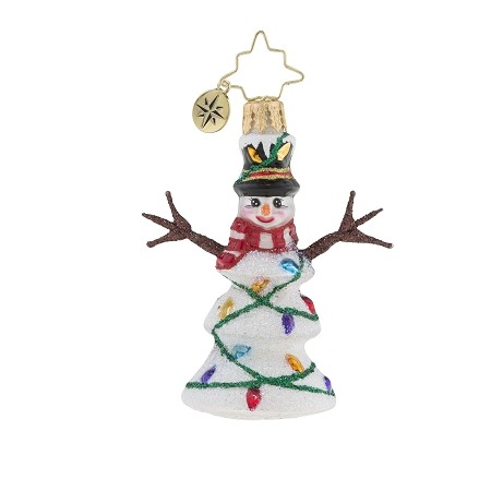 RADKO 1019190 NORTHERN LIGHTS GEM - SNOWMAN WITH STICK ARMS & STRING OF LIGHTS ORNAMENT - NEW 2018 (26-4)