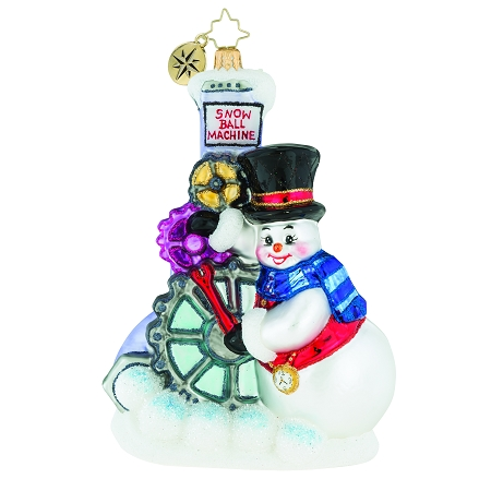 RADKO 1019506 GEARING UP FOR CHRISTMAS - SNOWMAN WITH SNOWBALL MACHINE ORNAMENT - NEW 2018 (68-1)