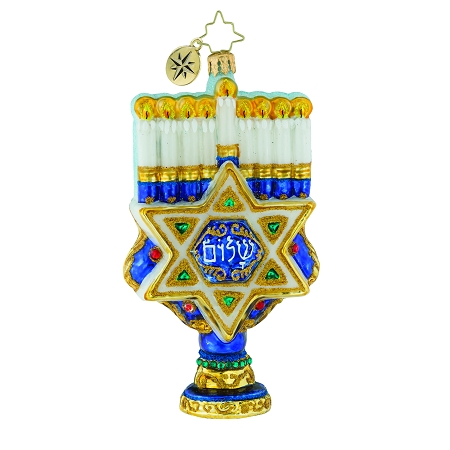 RADKO 1019553 RICH WITH TRADITION - HANUKKAH - MENORAH WITH STAR OF DAVID ORNAMENT - NEW 2018 (68-2)