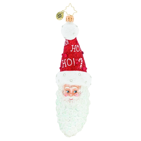RADKO 1019685 A JOLLY SMILE! - JEWELED SANTA WITH RED STOCKING CANDY CANE CAP ORNAMENT - NEW 2019 (68-2)