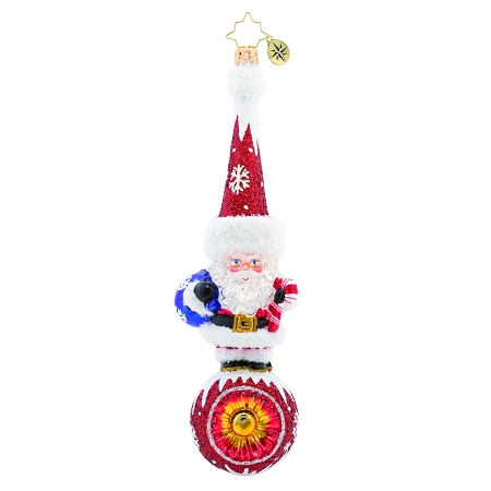 RADKO 1019689 SMALL BUT MIGHTY SANTA! - SANTA ON BALL WITH REFLECTOR ORNAMENT - NEW 2019 (68-2)