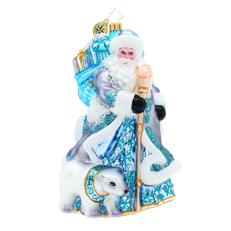 RADKO 1019695 SILVER LINING SANTA - LIMITED EDITION OF 764 - SANTA WITH STAFF AND POLAR BEAR ORNAMENT - NEW 2019 (19-1)