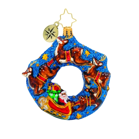RADKO 1019739 SANTA'S MIDNIGHT RIDE GEM - SANTA AND REINDEER ON WREATH ORNAMENT - NEW 2019 (27-3)