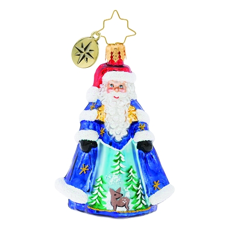 RADKO 1019764 WITH NIGHT CLOTHING IN... GEM - SANTA IN COAT WITH PAINTED SCENE ORNAMENT - NEW 2019 (27-7)