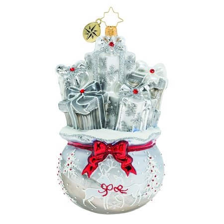 RADKO 1019805 LUSTROUS BAG OF GOODIES - LIMITED EDITION OF 642 - SILVER BAG OF SILVER PRESENTS ORNAMENT - NEW 2019 (19-1)