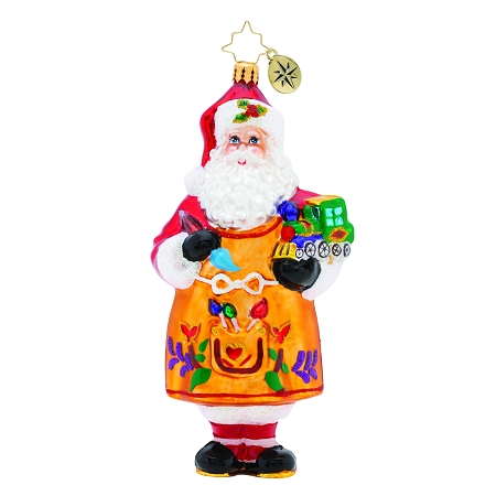 RADKO 1019833 WORKSHOP FUN! - SANTA IN APRON PAINTING TRAIN ORNAMENT - NEW 2019 (68-2)