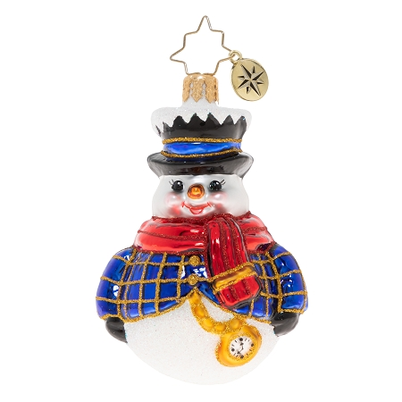RADKO 1020232 JOLLY ALL A ROUND SNOWMAN GEM - SNOWMAN WITH WATCH AND TOP HAT ORNAMENT - NEW 2020