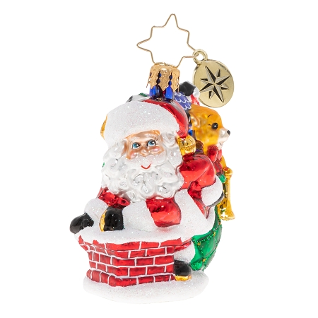 RADKO 1020268 SNEAKING DOWN THE CHIMNEY GEM - SANTA GOING DOWN THE CHIMNEY WITH A BAG OF TOYS ORNAMENT - NEW 2020 (28-7)