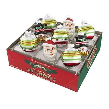 RADKO 4026760 SHINY BRITE - HOLIDAY SPLENDOR MIXED SANTA & SNOWMEN WITH DECORATED ROUNDS - ASSORTMENT 9 - NEW FOR 2015