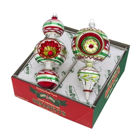 RADKO 4026901 SHINY BRITE - HOLIDAY SPLENDOR DECORATED SHAPES - ASSORTMENT 2 - NEW FOR 2016