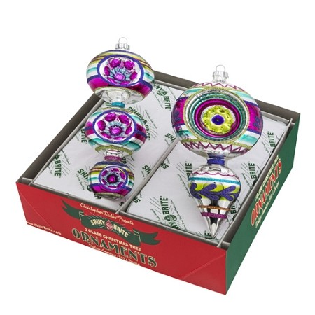 RADKO 4026926 SHINY BRITE - CHRISTMAS BRIGHTS DECORATED SHAPES - ASSORTMENT 2 - NEW FOR 2016