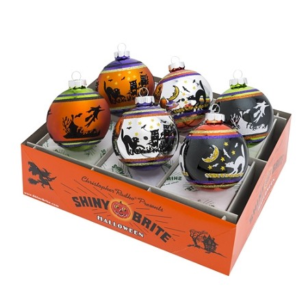 RADKO 4026976 SHINY BRITE - HALLOWEEN SIGNATURE FLOCKED BALLS - ASSORTMENT 6 - NEW FOR 2016