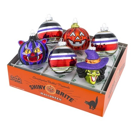 RADKO 4026979 SHINY BRITE - HALLOWEEN FIGURES & ROUNDS - ASSORTMENT 6 - NEW FOR 2016