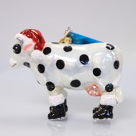 RADKO 1013144 UDDER JOY - POLKA DOT COW WITH BOOTS AND STOCKING CAP - RETIRED ORNAMENT (108)