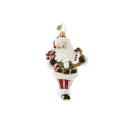 RADKO 1018651 BRING IN THE SWEETS  - SANTA WITH CANDY CANE AND COOKIE ORNAMENT - NEW 2017 (17-4)