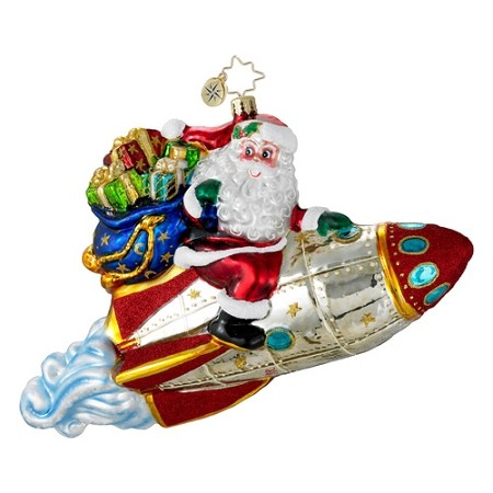 RADKO 1016005 FLY ME TO THE MOON - SANTA RIDING ROCKET SHIP ORNAMENT - NEW 2012 (12-5)