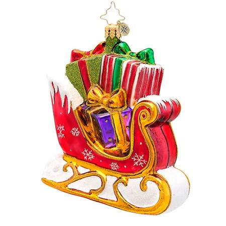 RADKO 1017179 THE GIFT GLIDER - BRILLIANT TREASURE - RED & GOLD SLEIGH FULL OF GIFTS ORNAMENT - NEW 2014 (14-7)