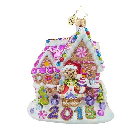 RADKO 1017635 CANDY-SHACK - DATED 2015 - GINGERBREAD HOUSE ORNAMENT - NEW 2015 (15-2)