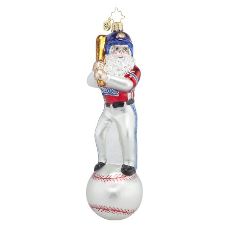RADKO 1017671 HOMERUN NICK - SANTA WITH BAT ON BASEBALL ORNAMENT - NEW 2015 (15-6)