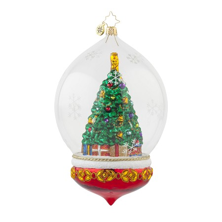 RADKO 1017684 PERFECTLY FESTIVE - CHRISTMAS TREE IN DOME ORNAMENT - NEW 2015 (15-7)