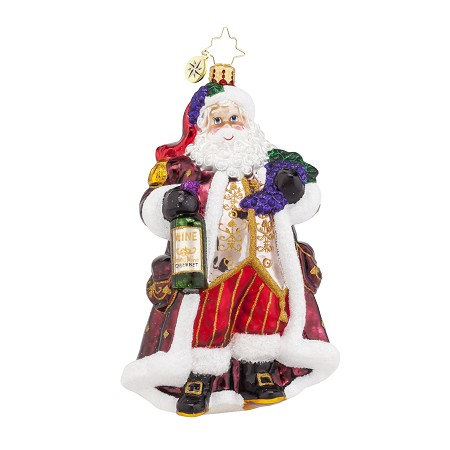 RADKO 1018016 OFF THE VINE CABERNET - SANTA WITH RED WINE ORNAMENT - NEW 2015 (15-15)