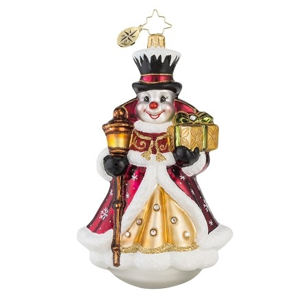 RADKO 1018125 VICTORIAN FROST -  JEWELED SNOWMAN WITH TOP HAT ORNAMENT - NEW 2016 (16-3)