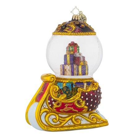 RADKO 1018207 HOLIDAY GLIDER - DOMED SLEIGH ORNAMENT - NEW 2016 (16-5)