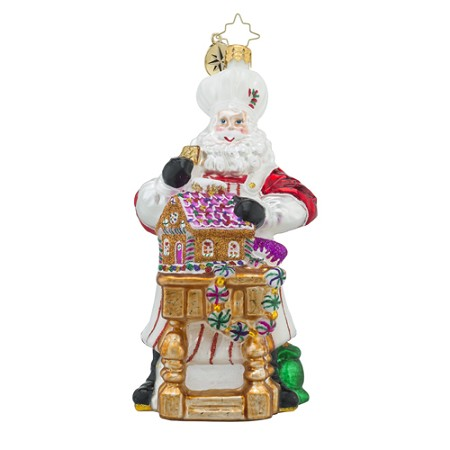 RADKO 1018211 MASTERPIECE IN THE MAKING - SANTA MAKING GINGERBREAD HOUSE ORNAMENT - NEW 2016 (16 - 6)