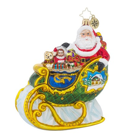 RADKO 1018392 VILLAGE SLEIGH RIDE - SANTA IN SLEIGH WITH PAINTED SCENE ORNAMENT - NEW 2016 (16 - 10)
