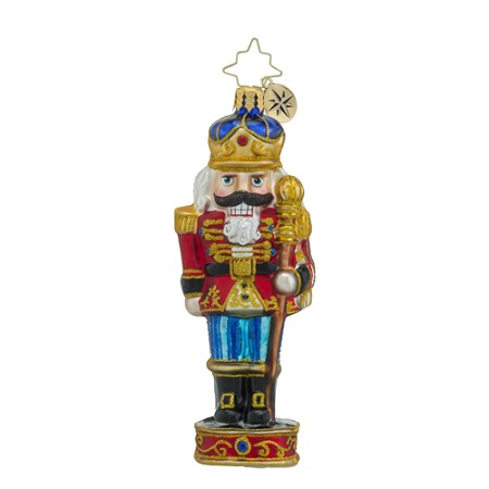 RADKO 1018423 KINGLY CRACKER - NUTCRACKER WITH STAFF ON DRUM ORNAMENT - NEW 2016 (16 - 11)