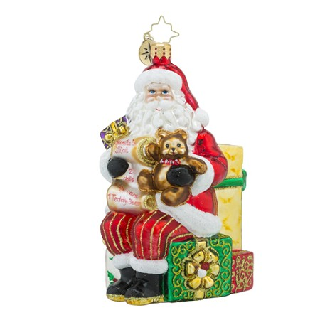 RADKO 1018428 PRESENTLY RESTING - SANTA IN CHAIR WITH LIST AND TEDDY BEAR ORNAMENT - NEW 2016 (16 - 11)